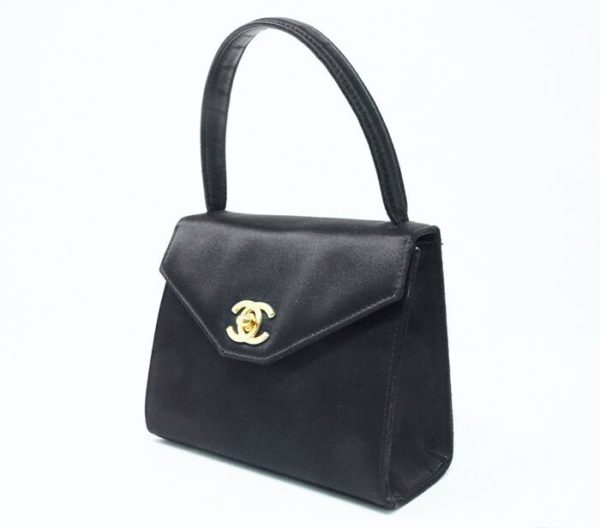 DesignerShare Chanel Vintage Top Handle Flap Bag Satin - Side