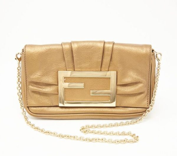 DesignerShare Fendi Mia Metallic Clutch with Removable Chain - Front