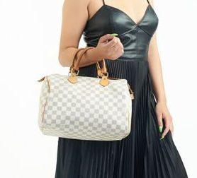 DesignerShare Louis Vuitton Damier Azur Speedy Bandouliere 30 Tote - Model