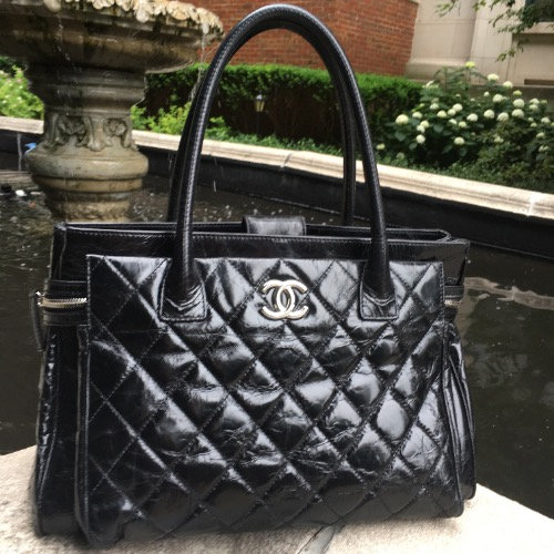 Chanel Black Quilted Handbag—Large