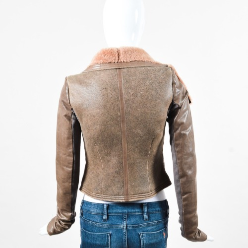 Rick Owens Brown Leather Knit Insert Shearling Collar Moto Jacket Back
