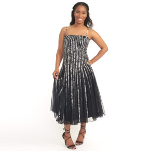 DesignerShare Cartise Pleated Stripe Dress - Front