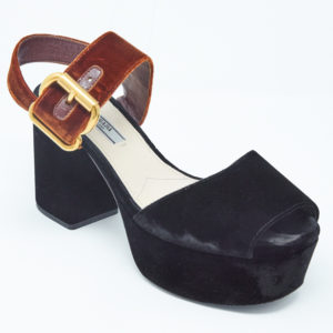 DesignerShare Prada Two-Tone Velvet Sandals - Front