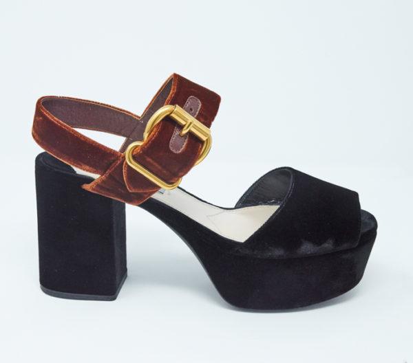 DesignerShare Prada Two-Tone Velvet Sandals - Side
