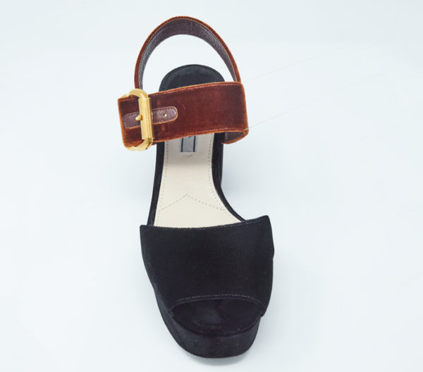 DesignerShare Prada Two-Tone Velvet Sandals - Front Top