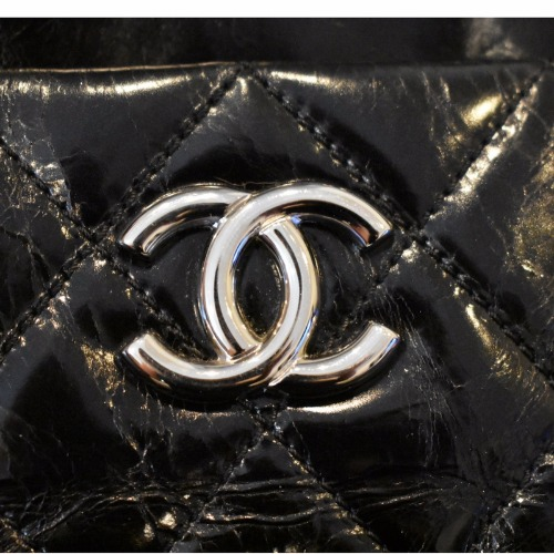 Chanel Black Quilted Handbag—Large Logo Detail