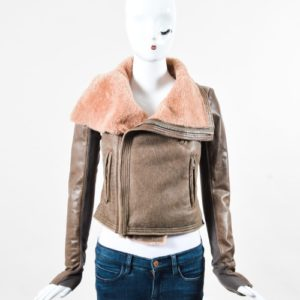 Rick Owens Brown Leather Knit Insert Shearling Collar Moto Jacket