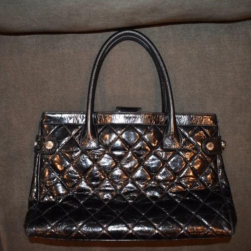 Chanel Black Quilted Handbag—Large Back