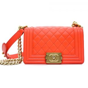 8233ade8a409 Chanel Coral Red Small Boy Bag