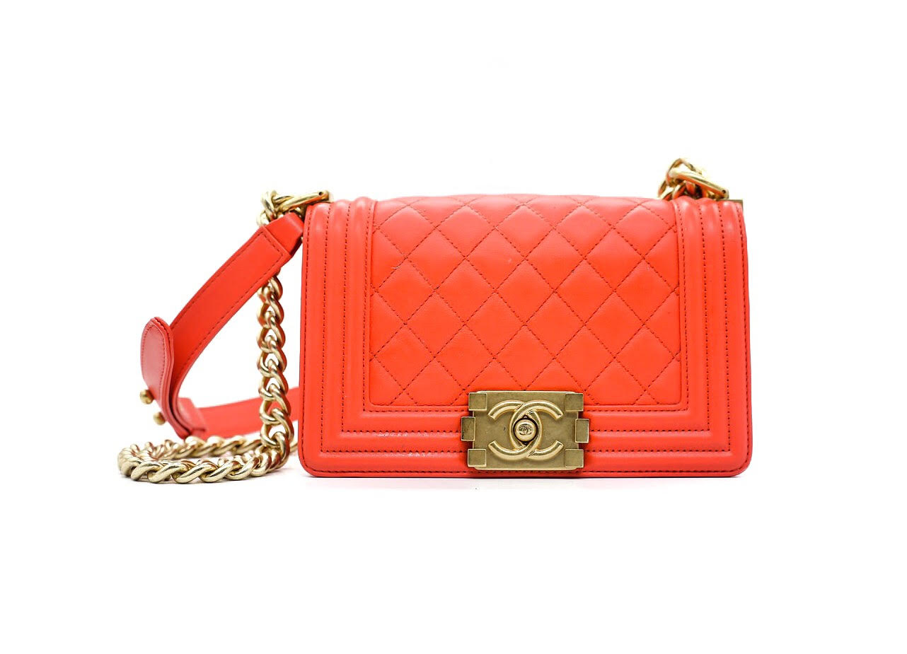 cb060b1848f1 Chanel Coral Red Small Boy Bag. Chanel red orange soft leather ...