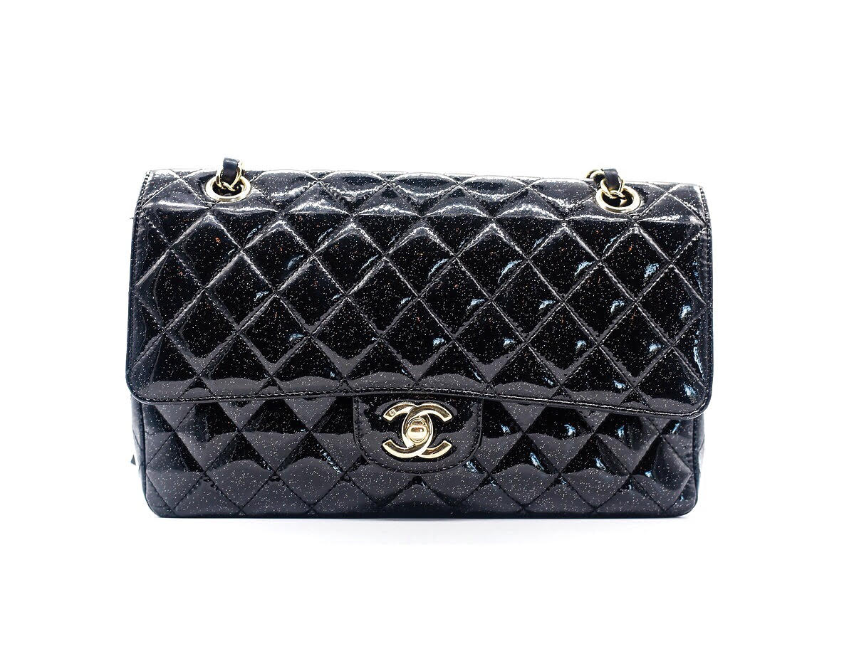 9b2ab71d7575 Chanel Black Glitter Quilted Patent Leather Classic Medium Double Flap Bag