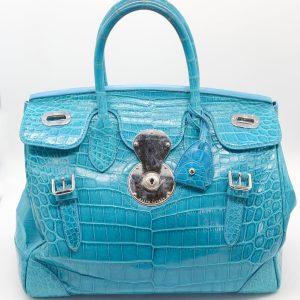 7ed92dc27735 Ralph Lauren Turquoise Crocodile Skin Top Handle Satchel