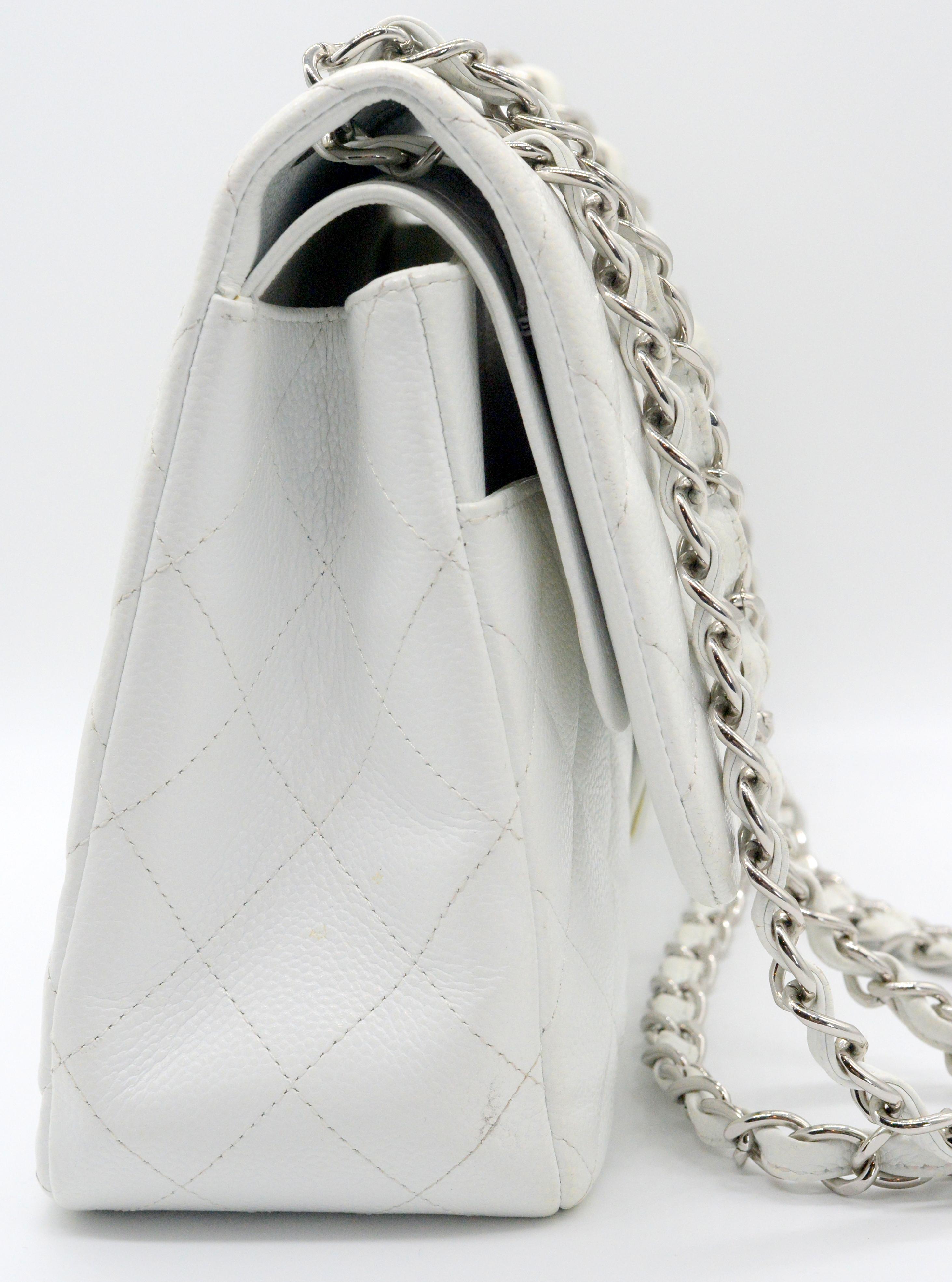 5f656f852328 Chanel White Caviar Medium Single Flap Shoulder Bag – DesignerShare