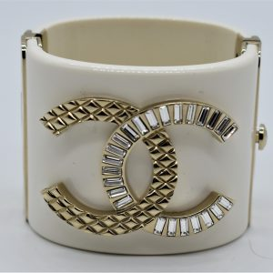 Chanel White Resin Crystal and Gold Quilted Metal Cuff