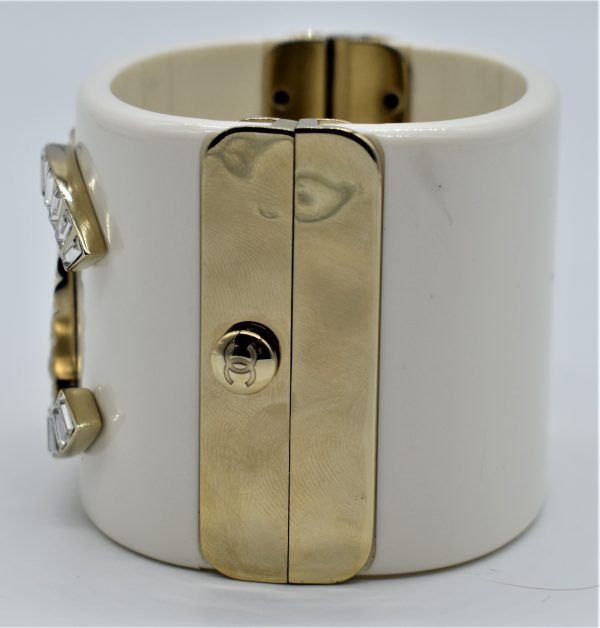 Chanel White Resin Crystal and Gold Quilted Metal Cuff clasp