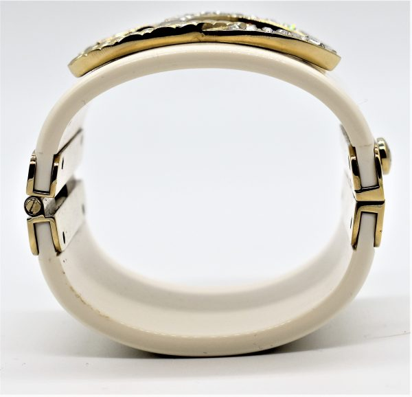 Chanel White Resin Crystal and Gold Quilted Metal Cuff side