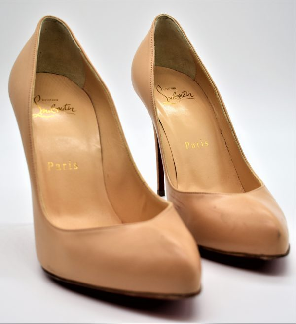 Christian Louboutin Eloise 100 Nude Leather Pumps