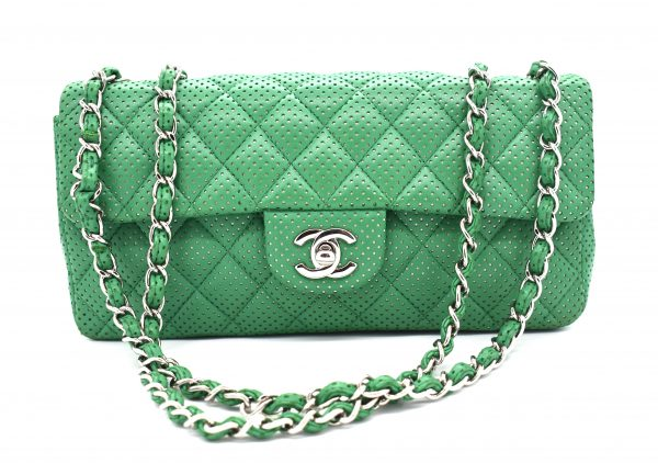 Chanel Green Perforated Lambskin Classic Flap Shoulder Bag