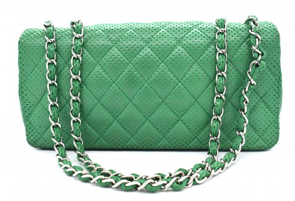Chanel Green Perforated Lambskin Classic Flap Shoulder Bag_Back