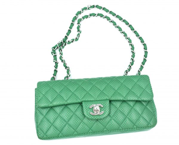Chanel Green Perforated Lambskin Classic Flap Shoulder Bag_Flatlay