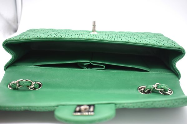 Chanel Green Perforated Lambskin Classic Flap Shoulder Bag_Interior