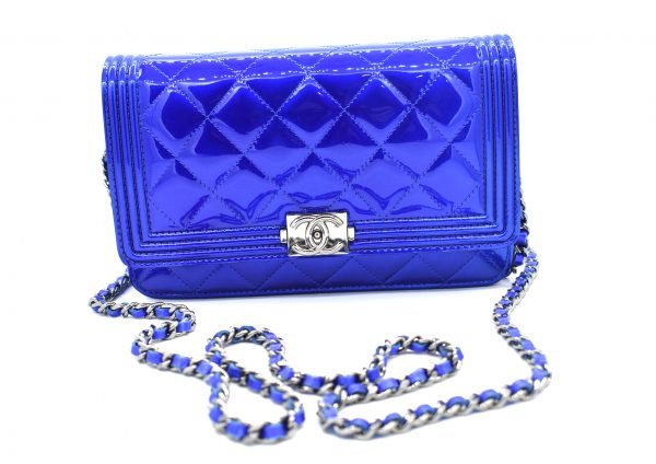 Chanel Patent Electric Blue Classic Flap Mini Bag_Front