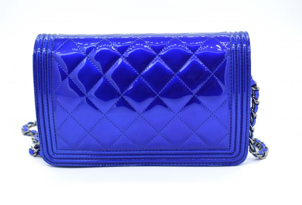 Chanel Patent Electric Blue Classic Flap Mini Bag_Back