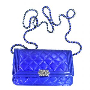 Chanel Patent Electric Blue Classic Flap Mini Bag_Flatlay