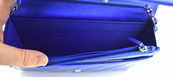 Chanel Patent Electric Blue Classic Flap Mini Bag_Interior