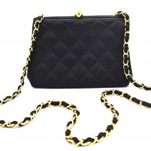 Vintage Chanel Quilted Silk Evening Shoulder Bag