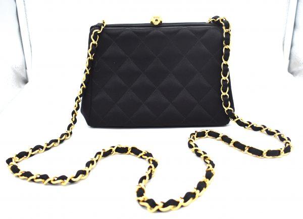 Vintage Chanel Quilted Silk Evening Shoulder Bag