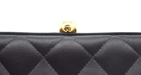 Vintage Chanel Quilted Silk Evening Shoulder Bag_Clasp