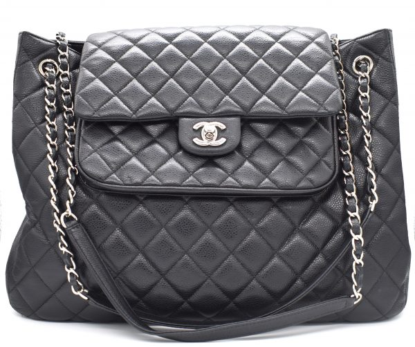Chanel Large Flap Quilted Caviar Shopping Tote