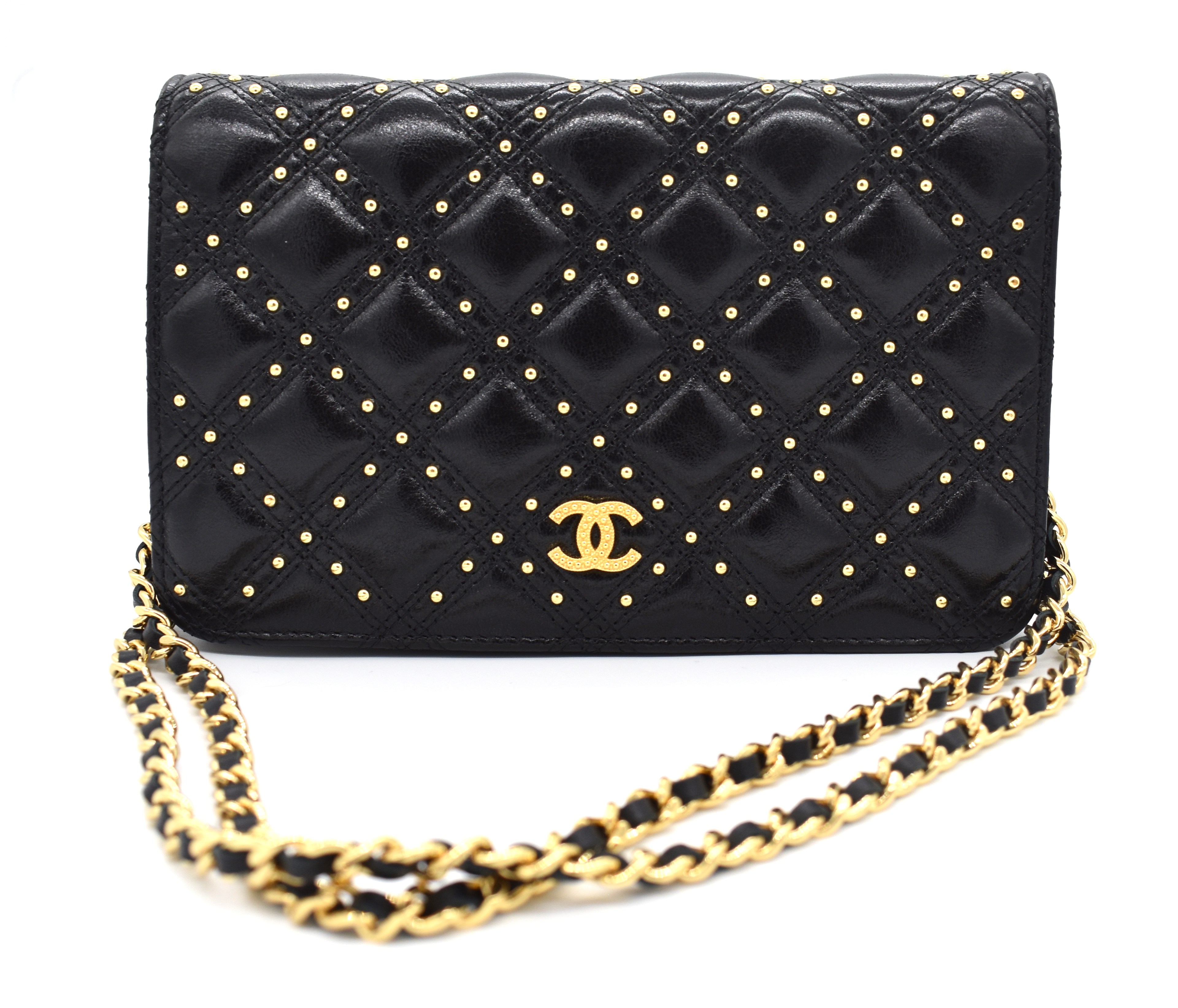 Chanel Gold Stud Wallet On Chain – DesignerShare f96718118062f