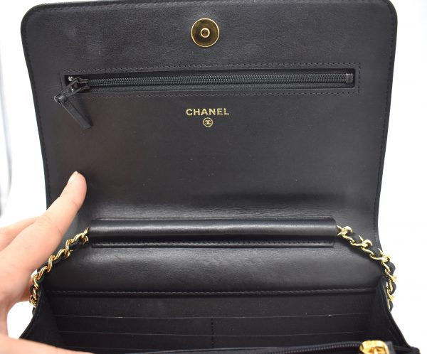 Chanel Gold Stud Wallet On Chain_InteriorFlap