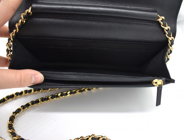 Chanel Gold Stud Wallet On Chain_Interior