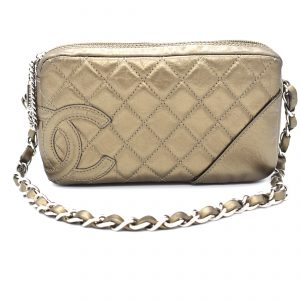 Chanel Bronze Quilted Clutch Bag