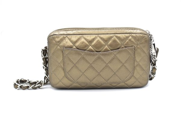 Chanel Bronze Quilted Clutch Bag_Back