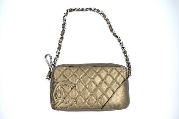 Chanel Bronze Quilted Clutch Bag_Flatlay