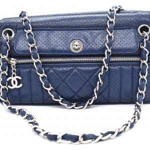 Chanel Navy Blue Perforated Leather Shoulder Bag