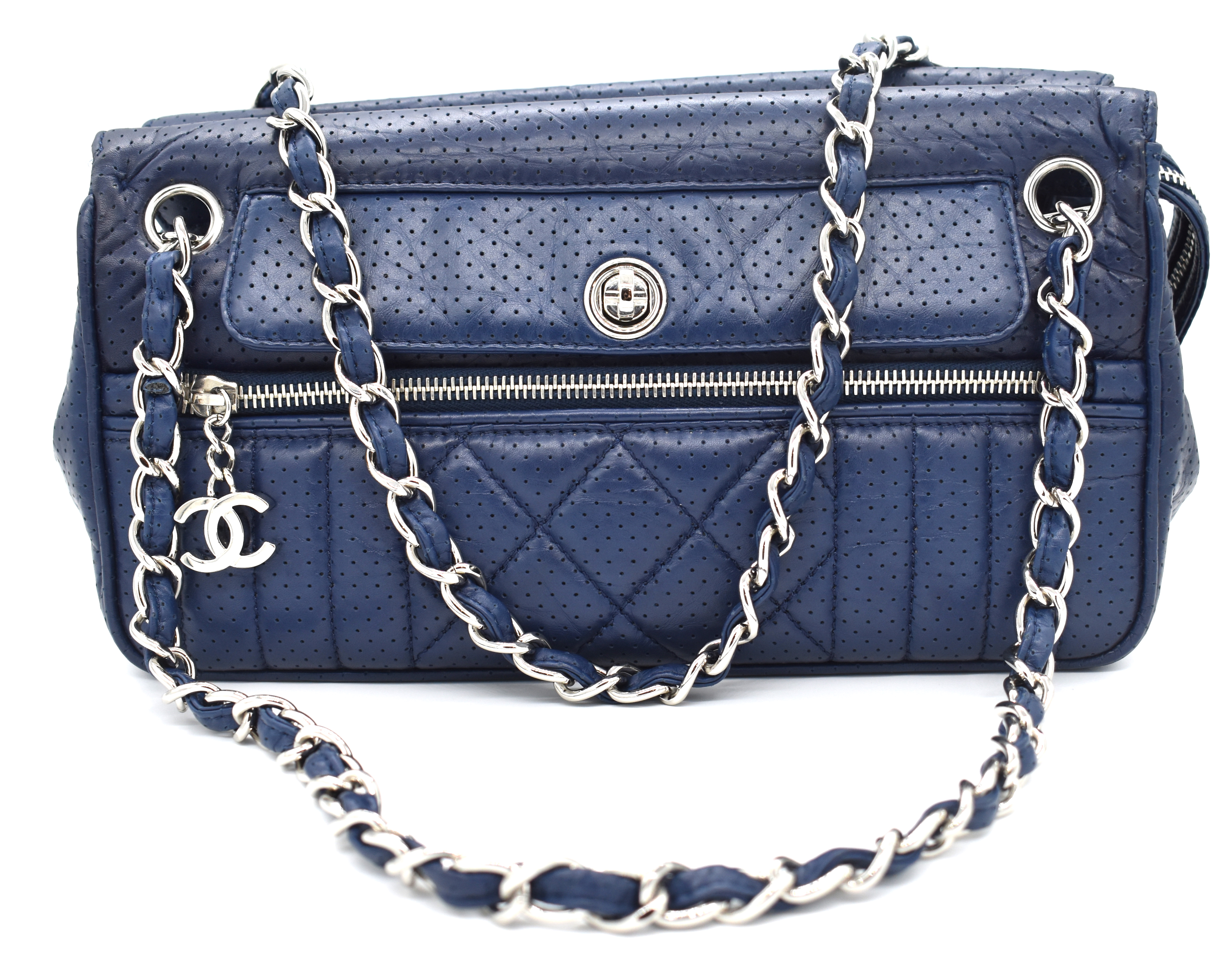 c5be36d87dae Chanel Navy Blue Perforated Leather Shoulder Bag – DesignerShare