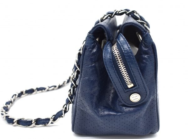 Chanel Navy Blue Perforated Leather Shoulder Bag_Side