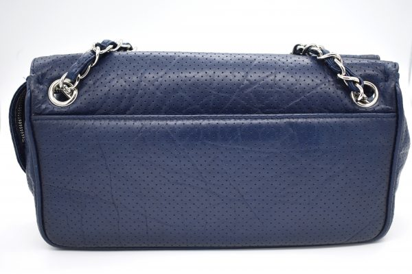 Chanel Navy Blue Perforated Leather Shoulder Bag_Back