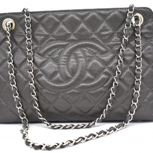 Chanel Gray Quilted Large Shopper Tote