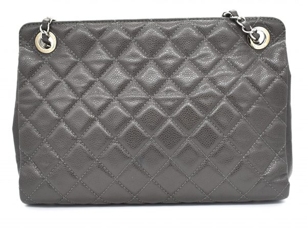 Chanel Gray Quilted Large Shopper Tote_Back