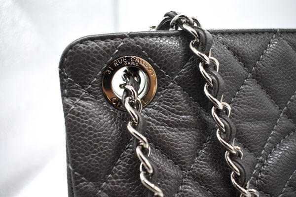 Chanel Gray Quilted Large Shopper Tote_Detail