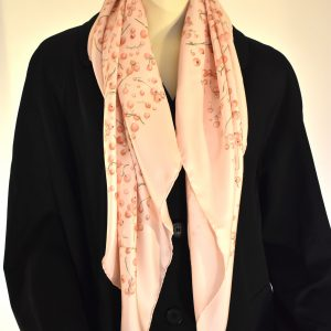 Hermès Pink Silk Red Berries Carré Scarf