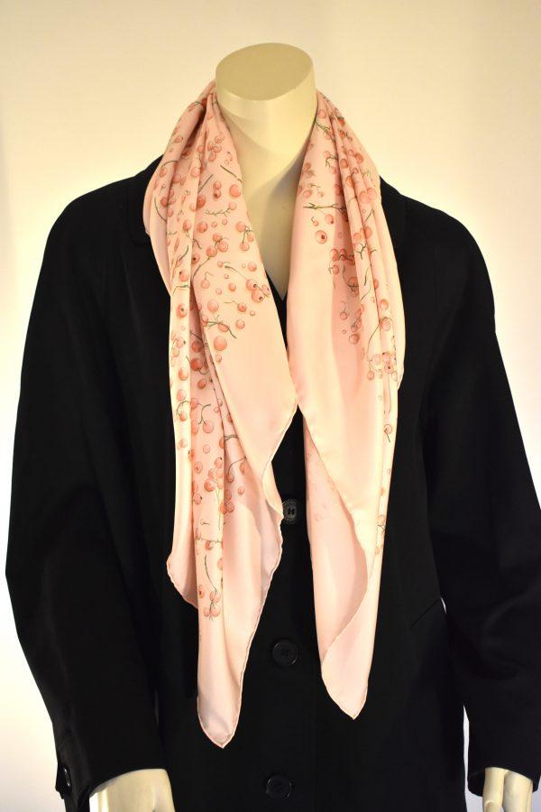 Hermès Pink Silk Red Berries Carré Scarf