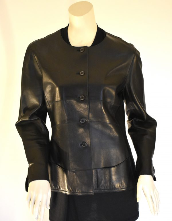 CHANEL Single-Breasted Leather Jacket_Front