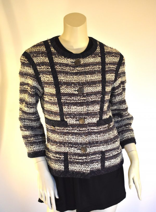 CHANEL Navy Tweed Jacket_Front
